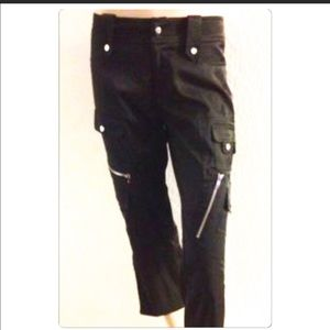 Cache Capris black with lots of zippers brand new
